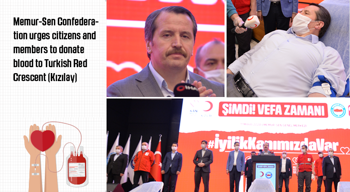Memur-Sen Confederation urges citizens and members to donate blood to Turkish Red Crescent (Kızılay)