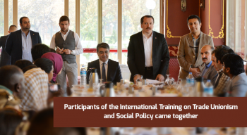 Participants of the International Training on Trade Unionism and Social Policy came together